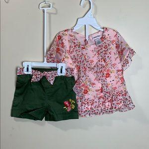 Peach top ruffles & sequins floral & green shorts